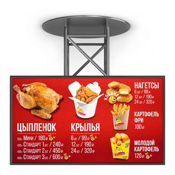 Menu boards for fast food restaurants and cafes on the food court, video menus on monitors